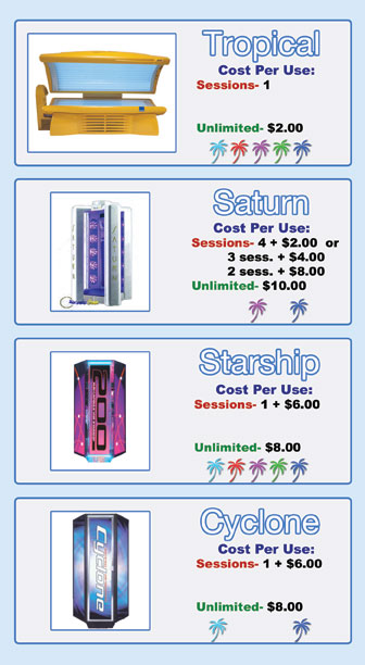 the tropical tanning bed and saturn, starship and cyclone stand up tanning machines